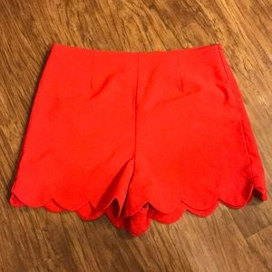 Red Scallop Shorts